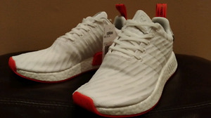 Nmd r2 pk size 8 white and red toned