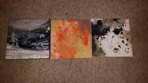 3 pieces of square art on canvas