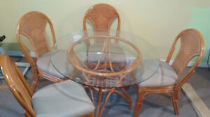 Bamboo/wicker table and 4 chairs