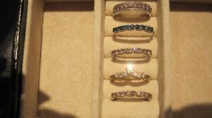 5 DIAMOND STACKING RINGS! 2.6 CARATS OF DIAMONDS !  BRAND NEW!