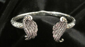 """Hand Carved 18 Kt. Yellow Gold & Silver Cuff with """"Angel Wings"""""""