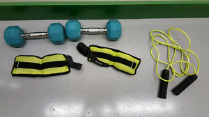 Dumbbells, jump rope and ankle weights