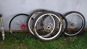 Bike parts, forks, wheels, tires