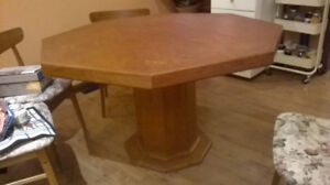 Octagonal Teak Dining Table and 4 chairs