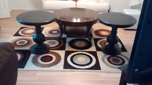 Cherry wood large table & two side tables