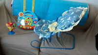 infant rocking chair with canopy and 2 musical toys for crib