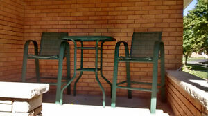 Outdoor bistro set 2 chairs and glass table