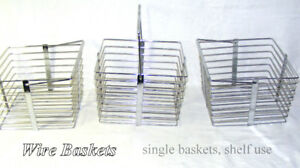 Wire Baskets 3 hang/stack/single, bright chrome, store/carry