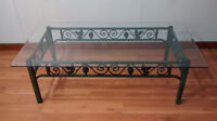 BEAUTIFUL IRON AND GLASS COFFEE TABLE + 2 END TABLES