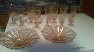 "10pc Vintage Arcoroc France Pink ""Roseville Swirl""Glasses,/Plate"