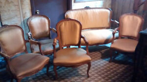 4 French Provincial Arm Chairs + Love Seat