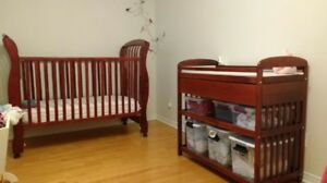 Crib with mattress, change table +, and bedding