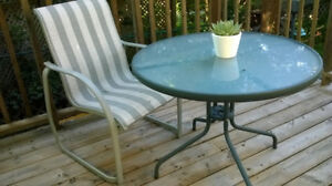 Deck Table, 1 Chair, and Umbrella (not pictured)