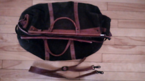 Suede & leather carpet bagger style travel bag