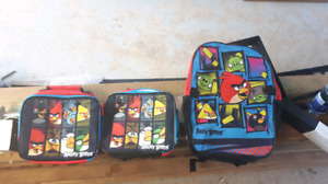 Angry birds back pack and lunch bags