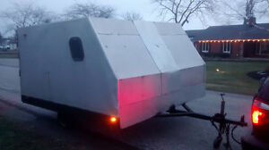 Snowmobile Double Enclosed Trailer 8.5x10 : Gate, 4 spare tires
