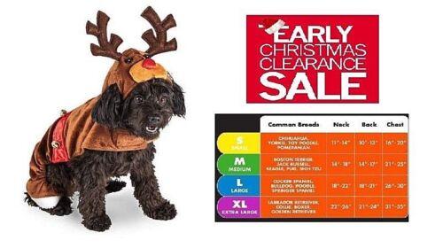 Dog Reindeer Rudolph Costume Hoodie Antler Hoodie w/ Christmas Bells NEW Small