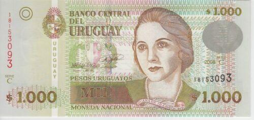 Uruguay Banknote P91c 1000 1.000 1,000 Pesos 2008 , UNC
