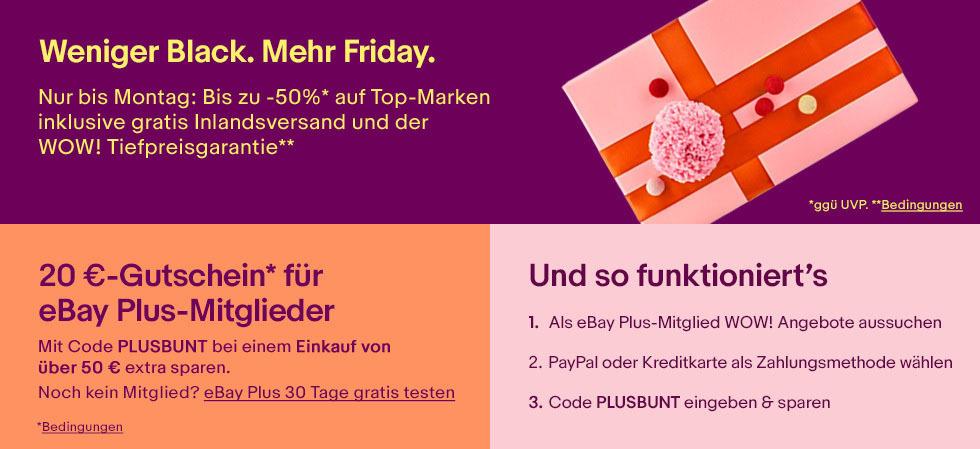 20 Euro Rabatt auf ebay WOW-Angebote