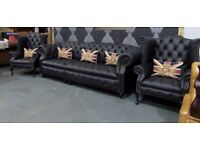 Stunning NEW Chesterfield 4 Seater Sofa & 2 Wing Back Chairs in Black Leather - UK Delivery