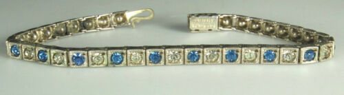 "ART DECO Line Bracelet 1920s STERLING Silver DIAMOND & SAPPHIRE Paste 7"" So Fine"