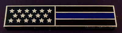 THIN BLUE LINE US Flag SILVER Uniform Award/Commendation Bar Pin MADE IN USA!