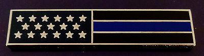 THIN BLUE LINE US Flag SILVER Uniform Award/Commendation Bar Pin Police/Sheriff