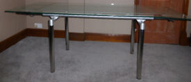 Table – Frosted/clear glass top extending table