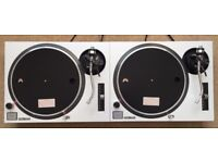 2 X Technics SL-1210 MK2 Turntable With Custom Pearl White Covers