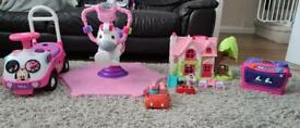 Baby girls Large toy bundle fisher price spinning zebra, Disney Minnie Mouse ride on, peppa pig