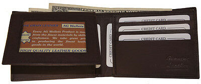 Mens Genuine Cowhide Leather Credit Id Card Holder Bifold Wallet Slim Purse Gift