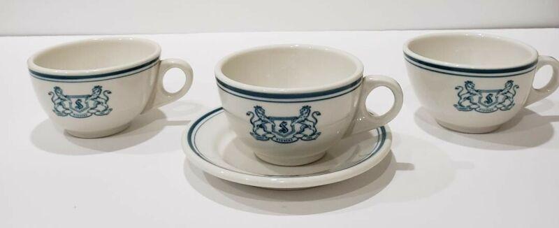 Vintage Homer Laughlin Lot of 4 Harry Stevens Restaurant Ware 3 Cups & 1 Saucer
