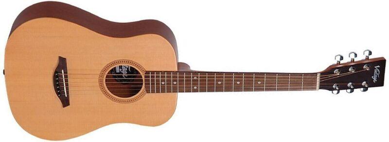 Vintage VTG100N Baby Travel Guitar with Bag Natural