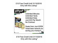 GiffGaff Pay as you go sim card, Free £10 Credit when you top up , Unlimited Mins/Texts/Data £20 PM