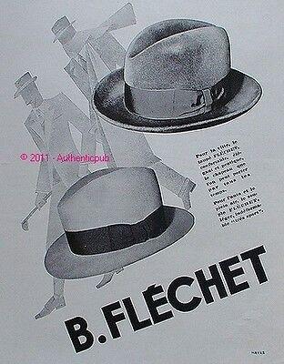 PUBLICITE CHAPEAUX B. FLECHET LE TAUPE LE SOUPLE GOLF DE 1931 FRENCH AD HAT PUB