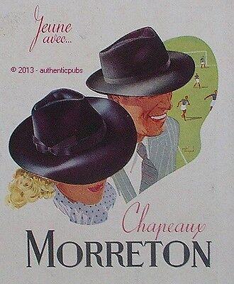 PUBLICITE CHAPEAUX MORRETON FEMME HOMME MATCH DE FOOT DE 1944 FRENCH AD HAT PUB
