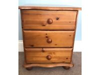 One Pine Three Drawer Bedside Cabinet Height 27ib/69cm Width 17in 43cm Depth 18in/46cm