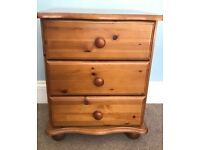 One Pine Three Drawer Bedside Cabinet OK Condition Height 27ib/69cm Width 17in 43cm Depth 18in/46cm