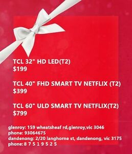 """Boxing Day sales tcl 40"""" smart led tv with Netflix at $399 Dandenong Greater Dandenong Preview"""