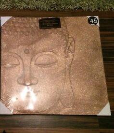 Bronze copper 3D sparkly large Buddha canvas