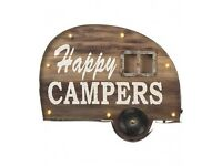 Happy Camper LED Sign Caravan Rustic Holiday Quirky Travel VW Vintage Xmas Gift