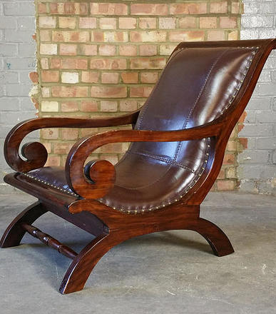 Leather , Teak Slipper Plantation Chair Easy Chair