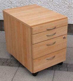 Four-drawer desk file cabnet.