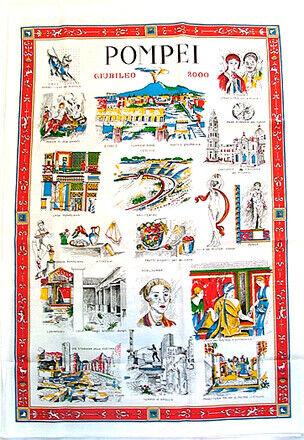 Pompeii, Italy Souvenir Linen Tea Towel - Kitchen Towel, Made in Italy