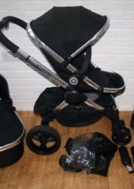 iCandy Peach 3 Black Magic Pushchair Single Seat Travel System with accessories