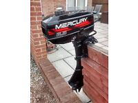 MERCURY 2.5 3.3HP 2 STROKE SHORT SHAFT OUTBOARD MOTOR BOAT ENGINE , DINGY TENDER RIB INFLATIBLE BOAT