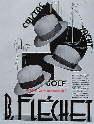 PUBLICITE CHAPEAUX B. FLECHET GOLF YACHT DE 1930 HAT AD
