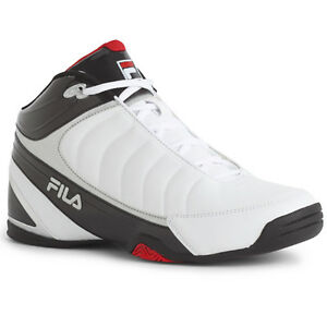Mens-Fila-DLS-Game-Training-Basketball-Shoes-White-Black-Cherry-Red