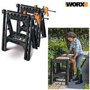 NEW WORX CLAMPING SAWHORSE PAIR WX065 218328966 W/ Bar Clamps Built-in Shelf  Cord Hooks
