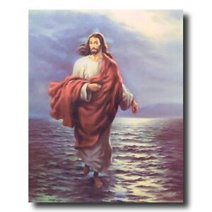 Jesus Christ Walking On Water Wall Picture Art Print
